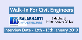 BIPL Walk-In For Civil Engineers Interview Date - 12th - 13th January 2019