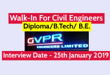 GVPR Engineers Ltd Walk-In For Civil Engineers DiplomaB.Tech B.E. Interview Date - 25th January 2019