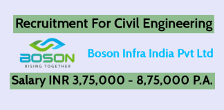 Boson Infra India Pvt Ltd Recruitment For Civil Engineering Salary INR 3,75,000 - 8,75,000 P.A.