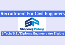 Shapoorji Pallonji Recruitment For Civil Engineers B.TechB.E.Diploma Engineers Are Eligible