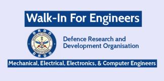 DRDO Walk-In For Engineers Mechanical, Electrical, Electronics, & Computer Engineers Check Now