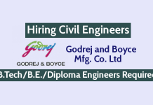 Godrej and Boyce Mfg. Co. Ltd Hiring Civil Engineers B.TechB.E.Diploma Engineers Required