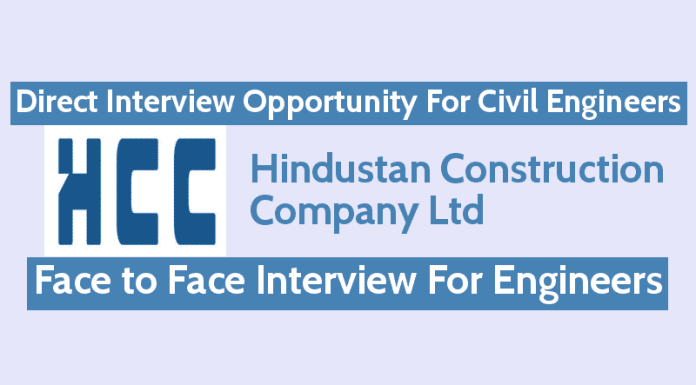 HCC Jobs - Direct Interview Opportunity For Civil Engineers Face to Face Interview