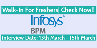 Infosys BPM Ltd Walk-In For Freshers Interview Date 13th March - 15th March Check Now