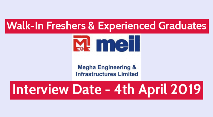 MEIL Walk-In Interview Freshers & Experienced Graduates Interview Date - 4th April 2019