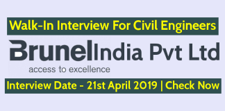 Brunel India Pvt Ltd Walk-In For Civil Engineers Interview Date - 21st April 2019