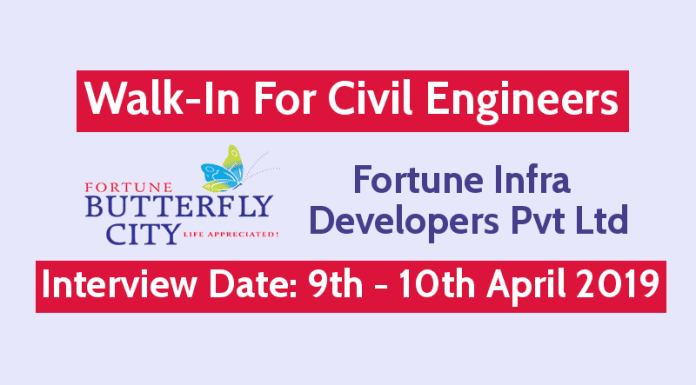 Fortune Infra Developers Pvt Ltd Walk-In For Civil Engineers Interview Date 9th - 10th April 2019