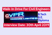 GVPR Engineers Ltd Walk-In For Civil Engineers B.TechB.E.Diploma Interview Date 30th April 2019