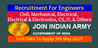 Indian Army Recruitment For Engineers Civil, Mechanical, Electrical, Electrical & Electronics, CS, IT, & Others Last Date 9th May 2019