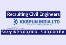 KK Spun India Ltd Recruitment For Civil Engineers Salary INR 3,00,000 - 5,00,000 P.A.