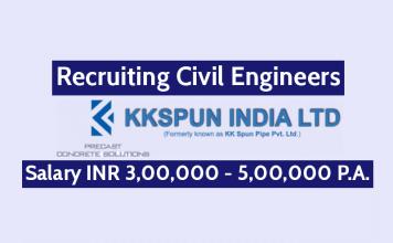 KK Spun India Ltd Recruitment For Civil Engineers Salary INR 3,00,000 - 5,00,000 P.A.