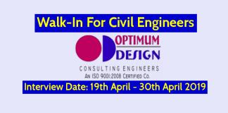 Optimum Design Pvt Ltd Walk-In For Civil Engineers Interview Date 19th April - 30th April 2019