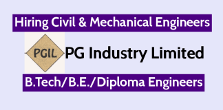 PG Industry Limited Hiring Civil & Mechanical Engineers B.TechB.E.Diploma Engineers