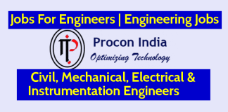 Procon India Pvt Ltd Jobs For Engineers Civil, Mechanical, Electrical & Instrumentation Engineers