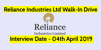 Reliance Industries Ltd Walk-In Drive Interview Date - 04th April 2019