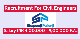 Shapoorji Pallonji Hiring Civil Engineers Salary INR 4,00,000 - 9,00,000 P.A.