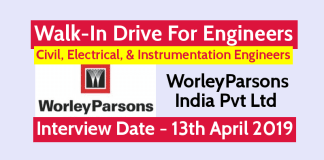 WorleyParsons India Pvt Ltd Walk-In For Engineers Civil, Electrical, & Instrumentation @ 13th April 2019