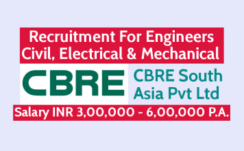 CBRE South Asia Pvt Ltd Recruitment For Engineers Civil, Electrical & Mechanical Salary INR 3,00,000 - 6,00,000 P.A.