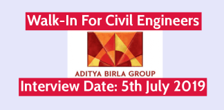 Aditya Birla Group Walk-In For Civil Engineers Interview Date 5th July 2019