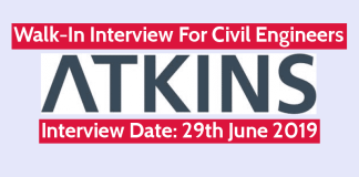 WS ATKINS (INDIA) Pvt Ltd Walk-In For Civil Engineers Interview Date 29th June 2019