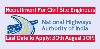 NHAI Recruitment For Civil Site Engineers Last Date 30th August 2019