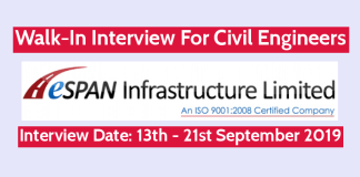 ESPAN Infrastructure (I) Ltd Walk-In Interview For Civil Engineers Interview Date 13th - 21st September 2019
