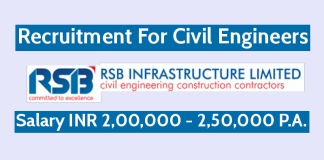 RSB Infrastructure Ltd Recruitment For Civil Engineers Salary INR 2,00,000 - 2,50,000 P.A.
