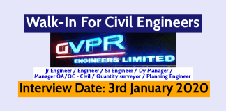 GVPR Engineers Ltd Walk-In For Civil Engineers Interview Date 3rd January 2020