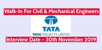 TATA Projects Ltd Walk-In For Civil & Mechanical Engineers Interview Date – 30th November 2019