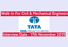 TATA Projects Ltd Walk-In For Civil & Mechanical Engineers Interview Date - 17th November 2019