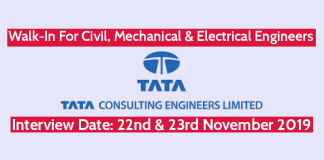 Tata Consulting Engineers Ltd Walk-In For Civil, Mechanical & Electrical Engineers Interview Date 22nd & 23rd November 2019
