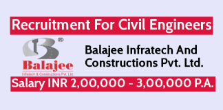 Balajee Infratech Recruitment For Civil Engineers Salary INR 2,00,000 - 3,00,000 P.A.