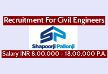 Shapoorji Pallonji Recruitment For Civil Engineers Salary INR 8,00,000 - 18,00,000 P.A.