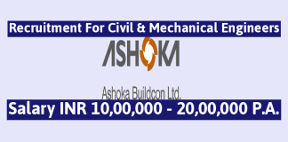 Ashoka Buildcon Ltd Recruitment For Civil & Mechanical Engineers Salary INR 10,00,000 - 20,00,000 P.A.