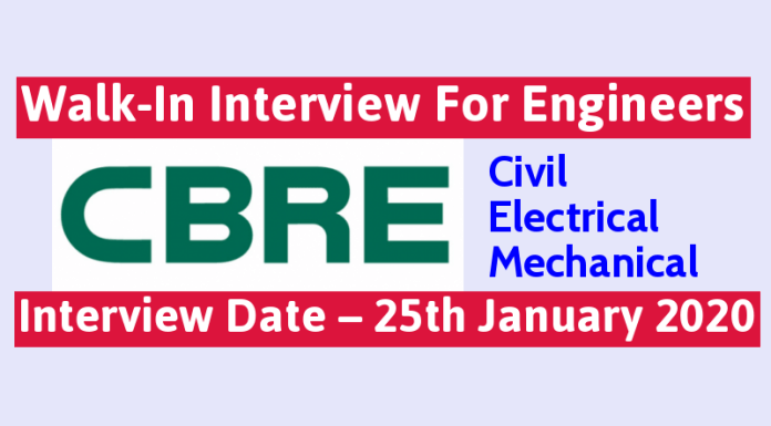 CBRE South Asia Pvt Ltd Walk-In For Civil, Electrical & Mechanical Engineers Interview Date – 25th January 2020