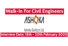 Ashoka Buildcon Ltd Walk-In For Civil Engineers Interview Date 18th - 20th February 2020