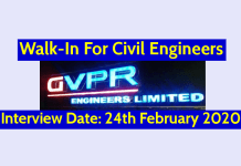 GVPR Engineers Ltd Walk-In For Civil Engineers Interview Date 24th February 2020