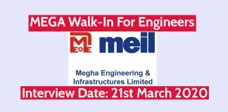 MEIL MEGA Walk-In For Engineers Interview Date 21st March 2020
