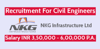 NKG Infrastructure Ltd Recruitment For Civil Engineers Salary INR 3,50,000 - 6,00,000 P.A.