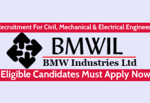 BMW Industries Ltd Recruitment For Civil, Mechanical & Electrical Engineers Eligible Candidates Must Apply Now