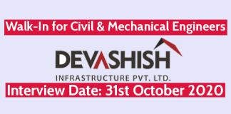 Devashish Infrastructure Pvt Ltd Walk-In for Civil & Mechanical Engineers Interview Date 31st October 2020