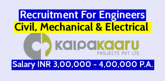 Kalpakaaru Projects Pvt Ltd Recruitment For Civil, Mechanical & Electrical Engineers Salary INR 3,00,000 - 4,00,000 P.A.