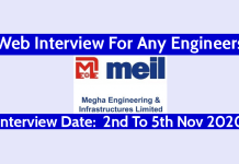 MEIL Web Interview For Any Engineers Interview Date 2nd To 5th Nov 2020
