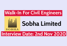 Sobha Limited Walk-In For Civil Engineers Interview Date 2nd Nov 2020