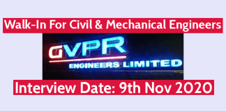 GVPR Engineers Ltd Walk-In For Civil & Mechanical Engineers Interview Date 9th Nov 2020