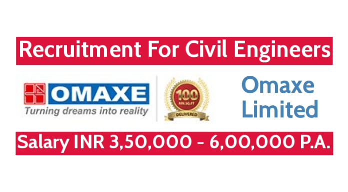 Omaxe Limited Recruitment For Civil Engineers Salary INR 3,50,000 - 6,00,000 P.A.