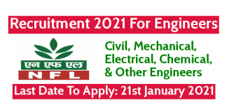 NFL Recruitment 2021 For Engineers Last Date To Apply 21st January 2021