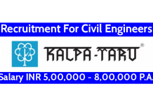 Kalpataru Limited Recruitment For Civil Engineers Salary INR 5,00,000 - 8,00,000 P.A.
