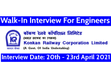 Konkan Railway Walk-In Interview For Engineers Interview Date 20th - 23rd April 2021