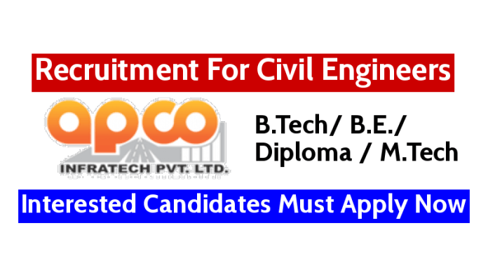 Apco Infratech Pvt Ltd Recruitment For Civil Engineers Interested Candidates Must Apply Now